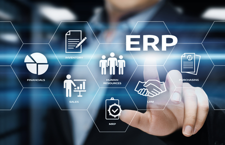 Foto de Enterprise Resource Planning ERP Corporate Company Management Business Internet Technology Concept. - Imagen libre de derechos