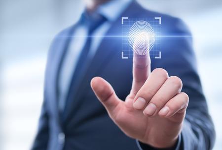 Foto de Fingerprint scan provides security access with biometrics identification. Business Technology Safety Internet Network Concept - Imagen libre de derechos
