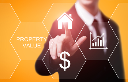 Photo for Property Value Real Estate Market Internet Business Technology Concept. - Royalty Free Image