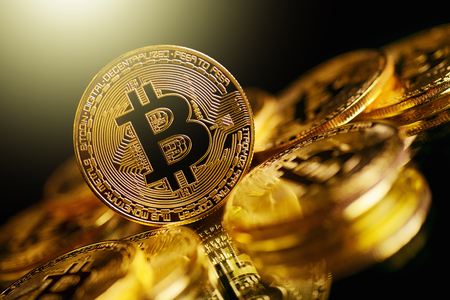 Photo for Bitcoin Cryptocurrency Digital Bit Coin BTC Currency Technology Business Internet Concept. - Royalty Free Image