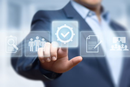 Foto de Standard Quality Control Certification Assurance Guarantee Internet Business Technology Concept. - Imagen libre de derechos