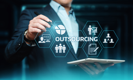 Photo pour Outsourcing Human Resources Business Internet Technology Concept. - image libre de droit
