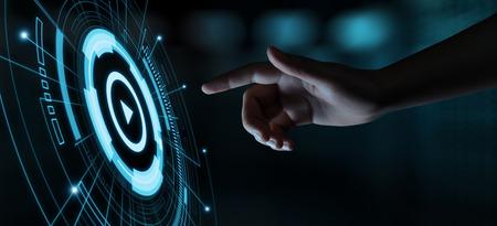 Photo pour Video Play Presentation Screen Technology Business Internet Concept. - image libre de droit