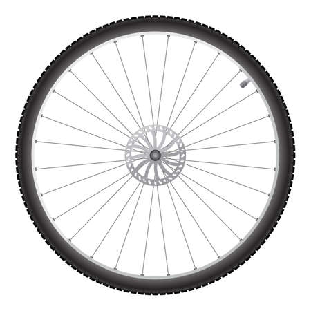 Illustration pour Black bicycle wheel on a white background - image libre de droit