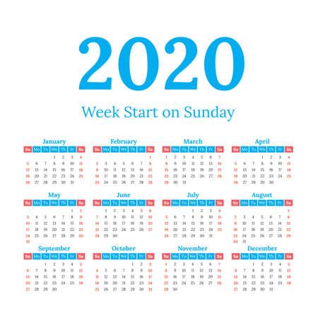 Illustration pour 2020 year vector calendar. Weeks start on Sunday - image libre de droit