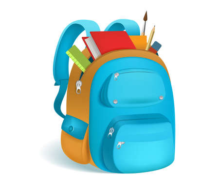 Photo pour Colorful schoolbag with school supplies. 3d backpack with zippers isolated on white background. Vector illustration. Eps 10. - image libre de droit