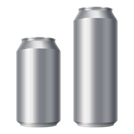 Illustration pour Blank beer can mock up. Small and Big Aluminium soda can isolated on white background. Realistic Drink packaging for branding and presentation of your design. - image libre de droit