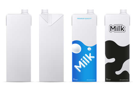 Ilustración de Vector milk package mockup isolated on white background. Cardboard milk or juice box mock up. Front and side view. Element for product branding. - Imagen libre de derechos