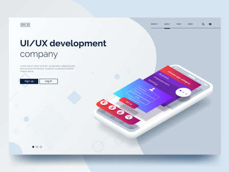 Illustrazione per Isometric conceptual mobile phone with disassembled user interface. Ui, Ux development vector illustration. Landing page concept. Mobile app wireframe. Eps 10. - Immagini Royalty Free