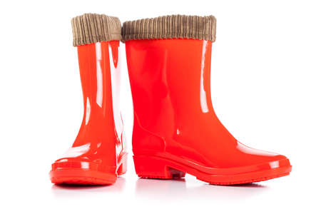 Red Rain Boots isolated on white