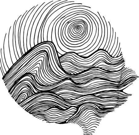 Ilustración de Black white picture of sea waves and sky in hatching style. - Imagen libre de derechos
