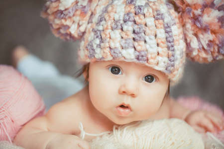 Photo for Cute newborn baby girl - Royalty Free Image