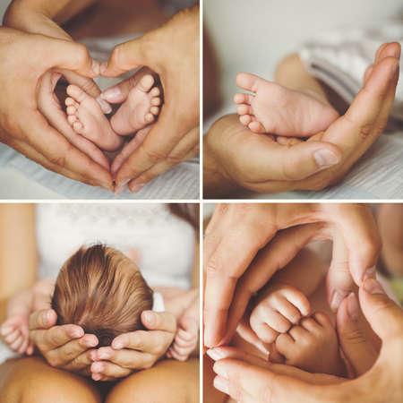Foto de Mother holding head of her newborn son in hands. The baby on hands at mum. Loving mother hand holding cute sleeping newborn baby child - Imagen libre de derechos
