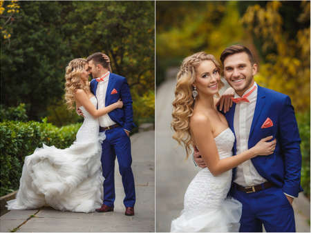 Photo pour Wedding collage - the bride and groom in the Park in the summer. Collage of wedding photos - the groom, a young dark-haired man in a blue wedding suit and pink tie - butterfly, blue-eyed bride - curly-haired blonde with long hair in a white wedding dress, - image libre de droit