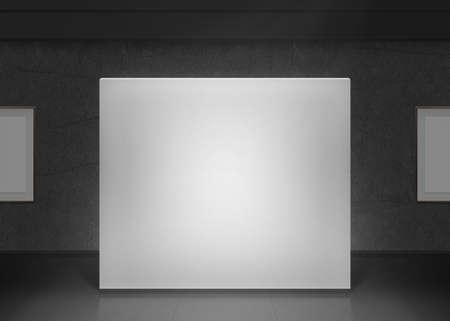 Foto de Modern gallery wall mockup in darkness. Dark museum hall with blank pictures on wall. - Imagen libre de derechos