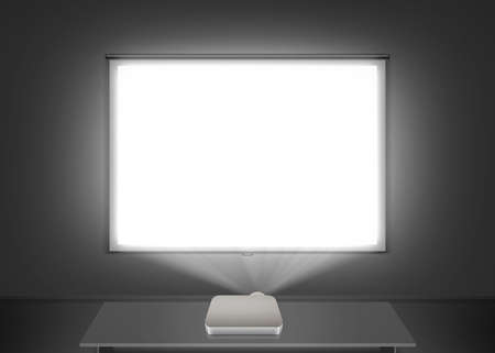 Photo pour Blank projector screen mockup on the wall. Projection light in darkness. - image libre de droit