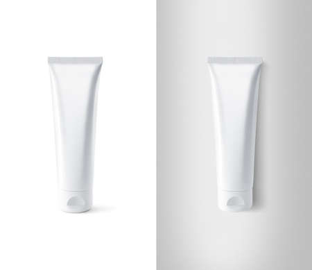 Foto de Blank white tube design mockup set, isolated, clipping path. - Imagen libre de derechos