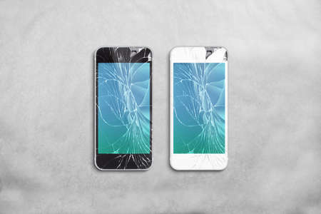 Foto de Broken mobile phone screen, black, white, clipping path. Smartphone display crack mockup. Cellphone crashed and scratch. Telephone monitor glass hit. Device destroyed. Smash gadget, need repair. - Imagen libre de derechos