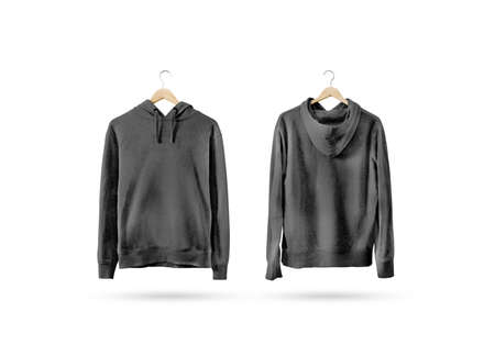 Photo for Blank black sweatshirt mockup set hanging on wooden hanger, front and back side view. Empty grey sweat shirt mock up on rack. Clear cotton hoody template. Plain textile hoodie. Loose overall jumper. - Royalty Free Image
