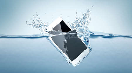 Foto de White smartphone mockup fall in water, 3d rendering. Mobile smart phone with touch screen mockup sinks under liquid surface. Electronic waterproof cellphone falling and dive with splashes. - Imagen libre de derechos