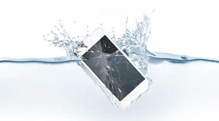 Foto de White broken smartphone mock up sinks in water, 3d rendering. Mobile smart phone with touch screen mockup fall under liquid surface. Electronic waterproof cellphone falling and dive with splashes. - Imagen libre de derechos