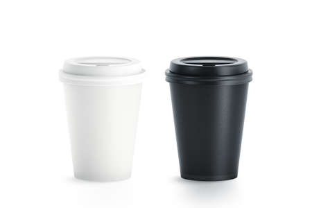 Foto de Blank black and white disposable paper cup with plastic lid mock up isolated, 3d rendering. Empty polystyrene coffee drinking mug mockup front view. Clear plain tea take away package - Imagen libre de derechos