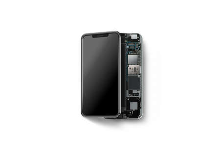 Photo pour New modern smart phone with opened shell isolated, chip, motherboard, processor, cpu and details, 3d rendering. Smartphone inside. Cellphone chipset constitution. Telephone scecification disassembled - image libre de droit