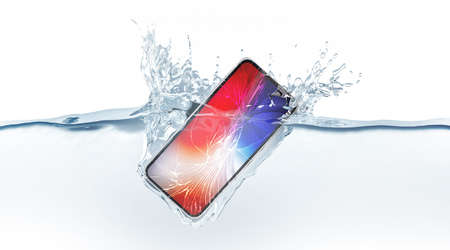 Photo pour Black smartphone mock up with colored screen fall in water, 3d rendering. Mobile smart phone mockup sinks under liquid surface. New Electronic waterproof cellphone falling and dive with splashes. - image libre de droit