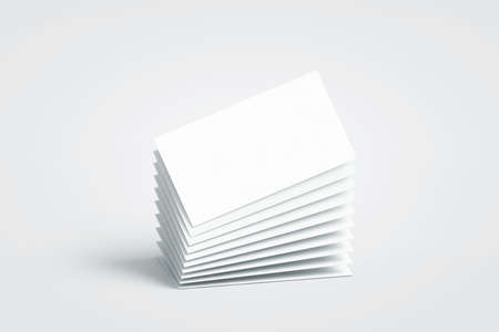 Foto de Blank white calling business cards stack mockup, no gravity, 3d rendering. Empty bussiness papers mock up. Clear namecard pile template. Visiting papersheet for for company name, phone number, email address. - Imagen libre de derechos