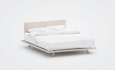 Foto de Blank white bed with pillows mockup, side view, isolated, 3d rendering. Empty bedclothes mock up. Clear blanket in bedstead. Doublebed with mattress and bedsheet. Doss with pilows and duvet. - Imagen libre de derechos