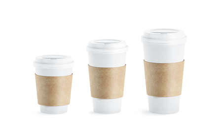 Photo pour Blank white paper cup with craft sleeve holder mockup set, isolated, 3d rendering. Empty disposable container with clutches for coffee or tea mock up. Clear drink pack with zarfs different size. - image libre de droit