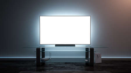 Foto de Blank white tv screen interior in darkness mockup, front view, 3d rendering. Empty telly plasma display in living room mock up. Clear smart panel monitor on glass shelf template. - Imagen libre de derechos