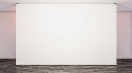 Photo for Blank white large gallery wall in studio mock up, 3d rendering. Empty modern lobby with exibition wal mockup. Clear presentation room. Wide poster on floor template. - Royalty Free Image