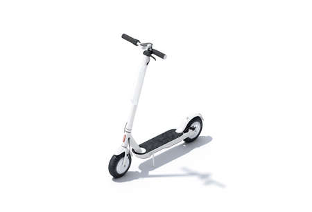 Photo for Blank white electric scooter with banner mock up, half-turned view - Royalty Free Image