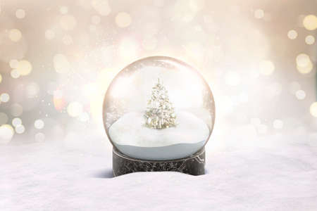 Photo pour Blank glass snow globe with snowfall and christmas tree mockup - image libre de droit
