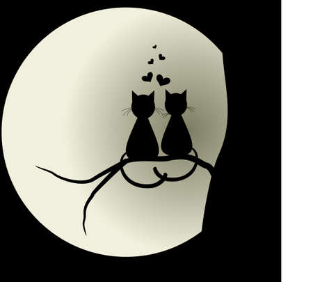 Illustrazione per Cats in love with the moon. Lovers. Vector illustration concept. - Immagini Royalty Free