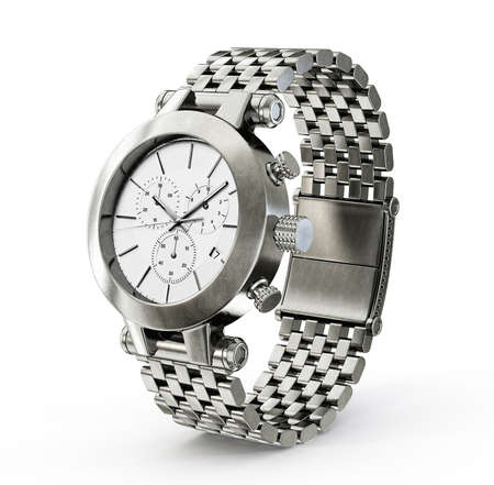 Photo pour steel watch isolated on a white background - image libre de droit
