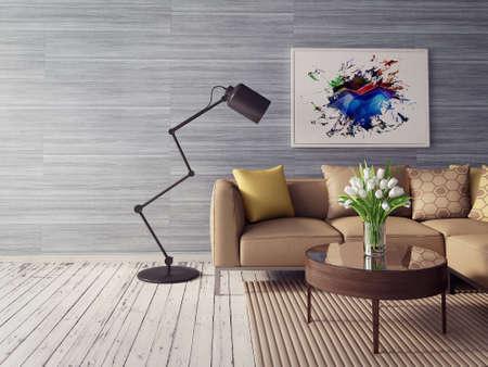 Photo pour 3d render. modern interior room with a beautyful furniture. - image libre de droit