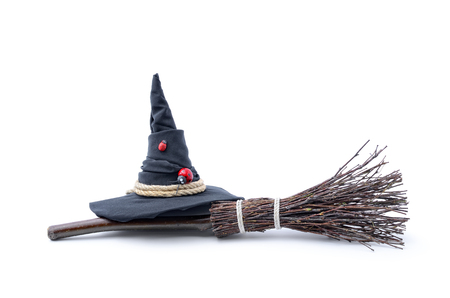 Photo for Magic Broom and Witch Hat on a White Background - Royalty Free Image
