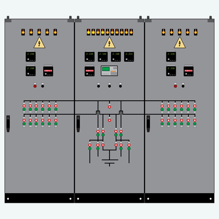 Illustration pour Picture of the electrical panel, electric meter and circuit breakers,high-voltage transformer - image libre de droit