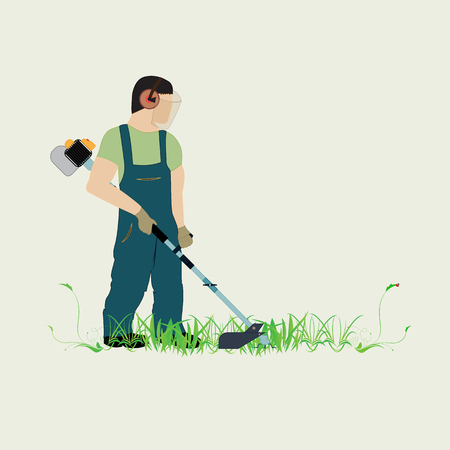 Illustration pour A man with a trimmer cuts grass on a white background. A man in overalls cuts grass with a trimmer. Worker cutting grass in garden with the weed trimmer. - image libre de droit