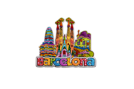 Foto de The souvenir magnet from Barcelona, Spain - colorful architectural symbols of the city in Gaudi style. Isolated on white background - Imagen libre de derechos