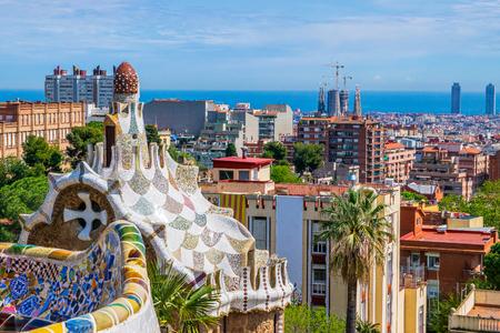 Foto de View of Barcelona, Spain from park Guell by Antonio Gaudi - Imagen libre de derechos