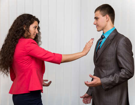 Photo for Stop sexual harassment A conflict between male and female corporate workers - Royalty Free Image