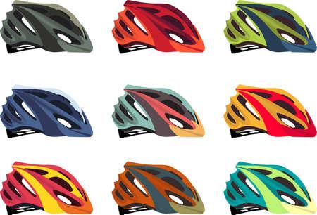 Illustration pour Colorful bike helmet vector pack - image libre de droit