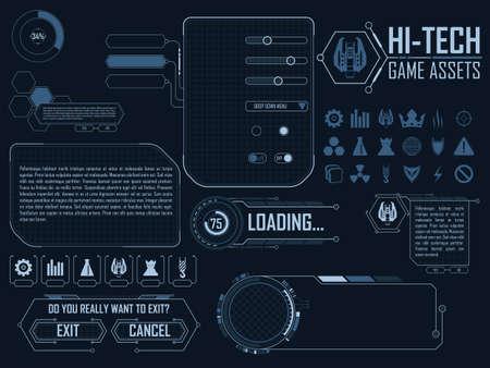 Illustration pour elements for strategy space video game - image libre de droit