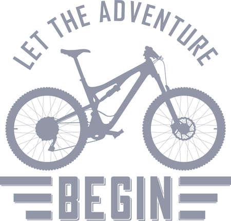 Ilustración de Let the Adventure Begin vector illustration with a full suspension mountain bike - Imagen libre de derechos