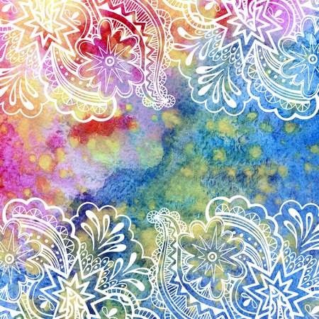 Photo for Calligraphic Vintage Pattern, Abstract Floral Outline Ornament, White Contours on Colorful Hand-Draw Watercolor Painting Background - Royalty Free Image