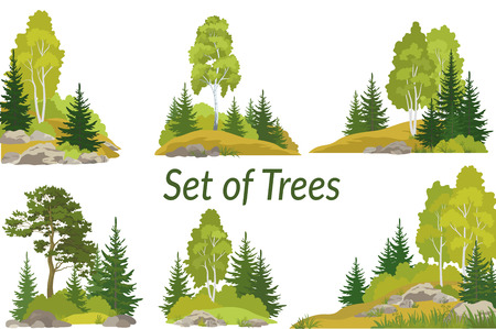Ilustración de Set summer and autumn landscapes. - Imagen libre de derechos
