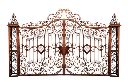 Photo pour Old rusty cemetery gate. Isolated on white background. - image libre de droit